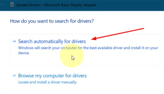 Search Automatically For Drivers option for window 10 brightness missing