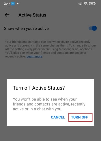 Show when you are active