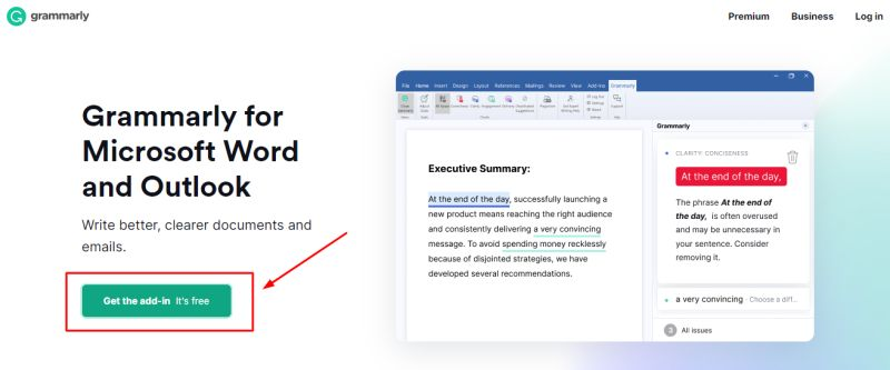 add-in page on Grammarly