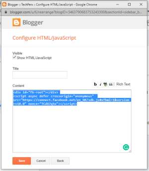 paste the first code of your Facebook Page Plugin