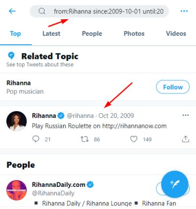 searching for Rihanna's first post