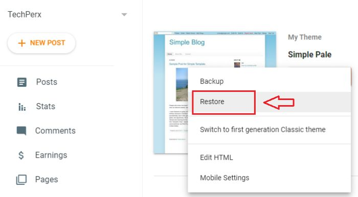 tap on the Restore button